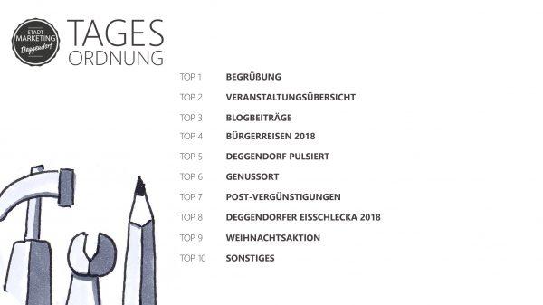 Tagesordnung Ideensitzung Stadtmarketing Deggendorf e.V.