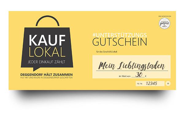 """Unterstützungs-Gutschein der Aktion """"Kauf lokal"""" des Stadtmarketing Deggendorf"""